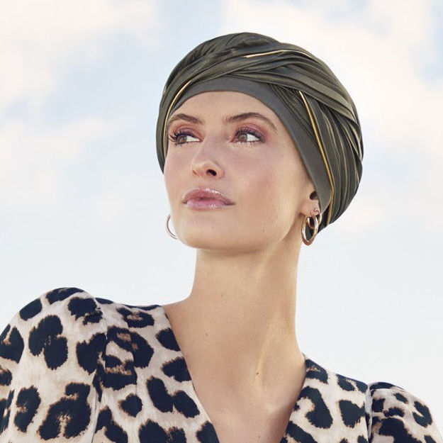 Emmy turban, Oliven m. guld piping